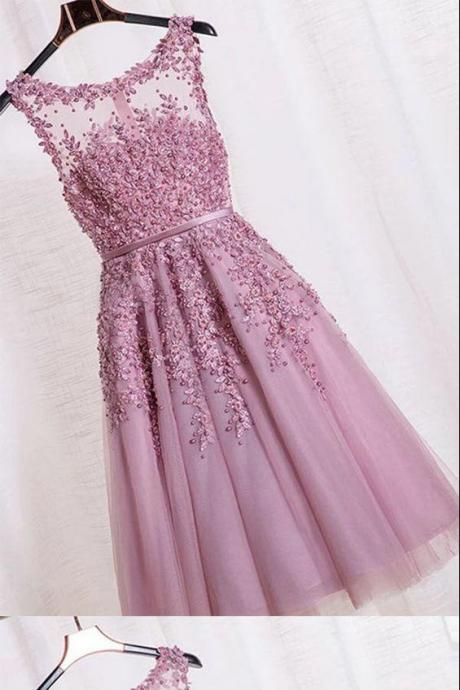 Elegant Prom Dress,Appliques Beaded Prom Dress,Formal Homecoming Dress,Tulle Prom Gown
