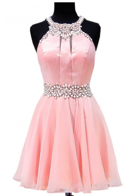Real Picture Short Pink Homecoming Dress 2018 A-line Beaded Crystals Junior Chiffon Party 8th Grade Prom Dresses