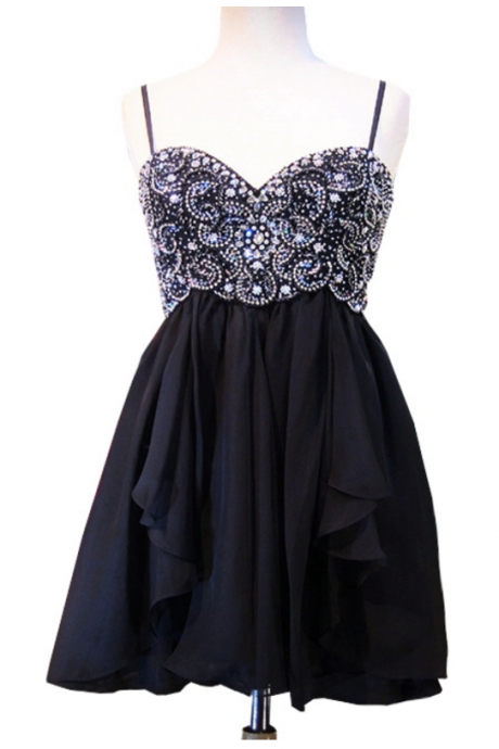Cute 8th Grade Prom Dresses 2018 Sweetheart Spaghetti Strap Top Crystal Beads Short Black Homecoming Dress
