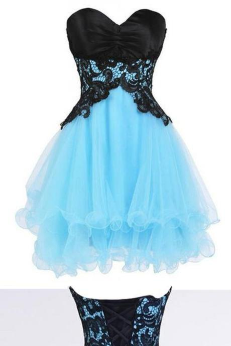 sky blue homecoming dresses, cute homecoming dresses, cute cocktail dresses, sky blue homecoming dresses with black appliques,83103