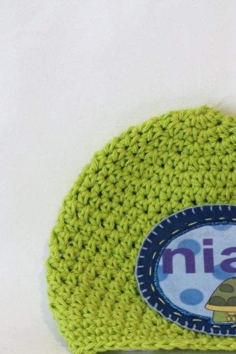 Baby Beanie, Personalized Baby Hat, Toddler Hat, Turtle Patch Personalized Baby Beanie, 100% Cotton Hand Crochet Indie Made Lime Green & Blue