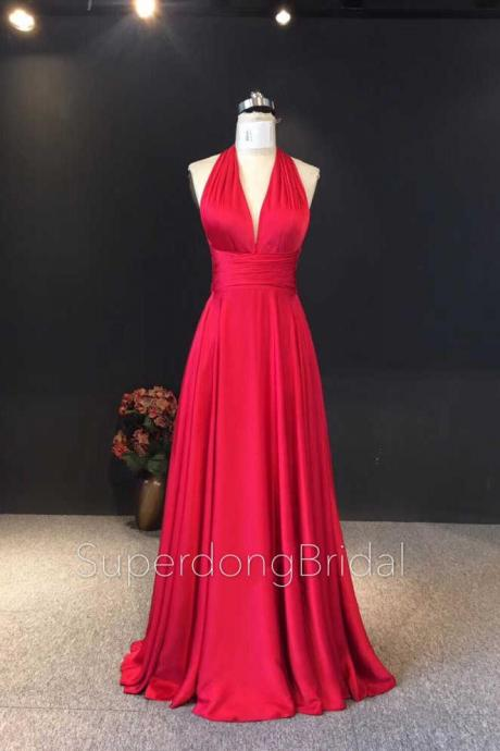A Line Red Evening Dresses 2018,Cross Back Silk Satin Evening Party Dresses,Sexy Evening Gown,Prom Dresses 2018