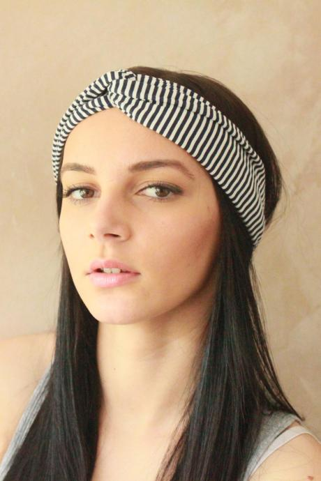 Workout headband -Turban Headband, Yoga Headband, Turban Twist, Exercise headband, Boho Headband, Hippie Headband - Blue and White Stripes