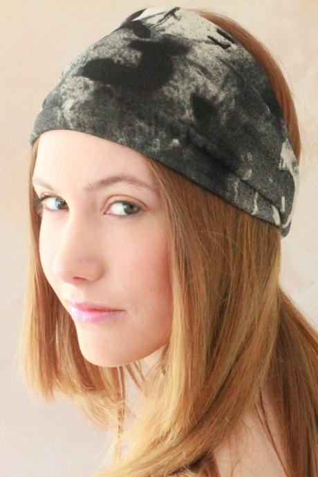 Workout headband, Fabric Headband, Exercise headband, Stretchy Headband, Sweatband, Boho Headband, Hippie Headband, Hairband - Grey