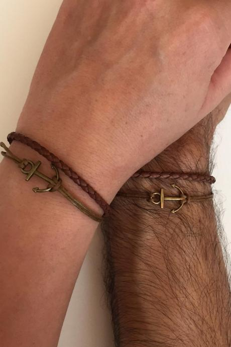 Couples Men and Women Bracelets 246- friendship love cuff bronze anchor charm bracelet leather braid gift adjustable current trendy innovative