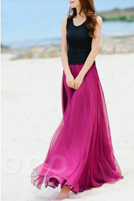 Rose Pink Beach Wedding bridesmaid dress, Long Chiffon Dancing Maxi Skirts, Girls Summer Sundress