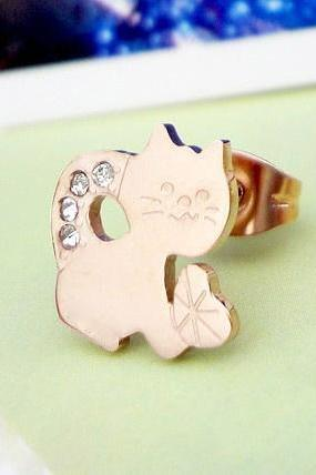 Lovely Cat Set Auger Rose Gold Titanium Steel Stud Earrings