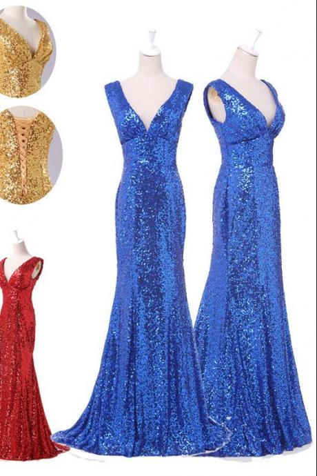 Fashion cheap plus size modest gold Prom Dresses sequins V neck zipper or lace up Long Evening dress prom dress Part dress custom size