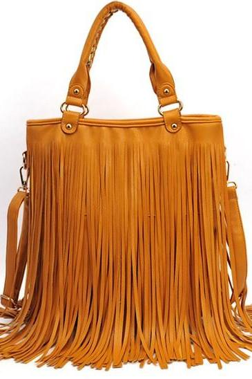 Fashion Women Tassel Punk PU Leather Shoulder Bag Fashion Fringe Handle Stude Handbag
