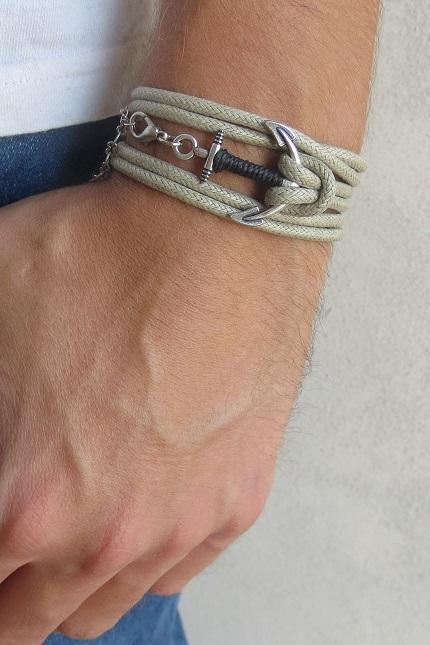 Men's Bracelet - Men's Anchor Bracelet - Men's Nautical Bracelet - Men's Vegan Bracelet - Men's Jewelry - Men's Gift - Boyfrienf Gift - Husband Gift - Gift for him - Present For Men - Gift For Dad