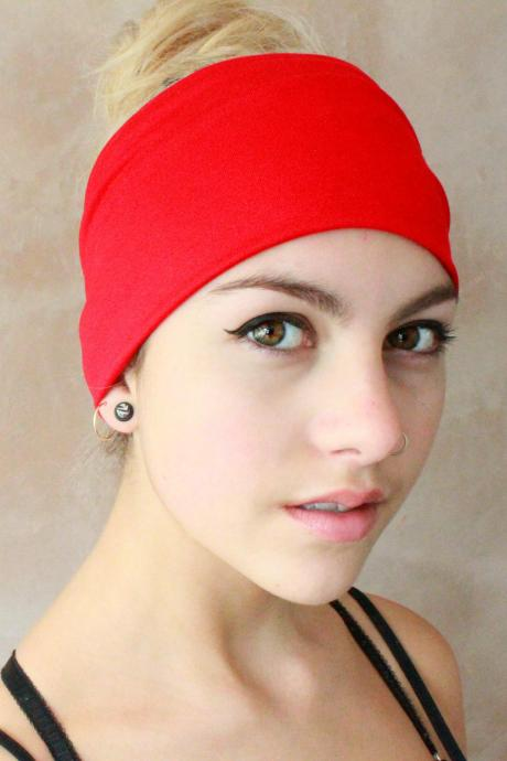 2 in 1 Red Turban Headband, Yoga Headband, Turban Twist, Exercise headband, Boho Headband, Hippie HeadbandWorkout headband