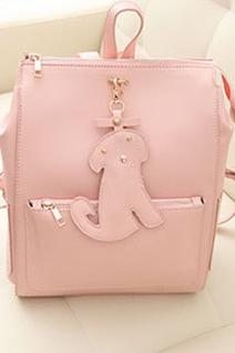 Fashion Dog Pendant Mint Green Cute Backpack - Pink
