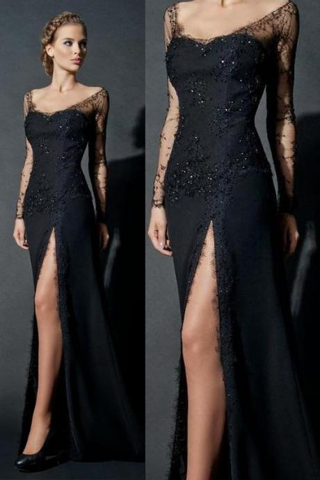 Ed135 Sheath Evening Dress, Long Sleeve Evening Dress,Elegant Evening Dress,Sexy Evening Dress