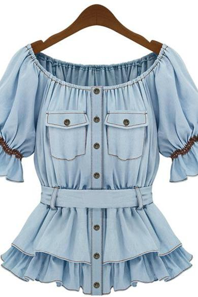 Faux Denim Shirt Women Butterfly Blouse Sashes Summer Soft Cotton Clothing Female European Style Tops