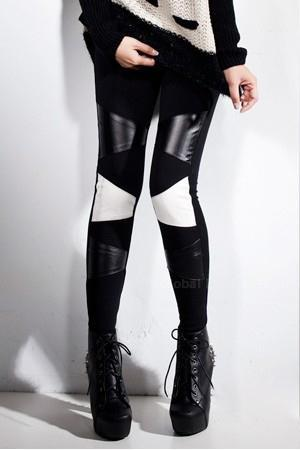 Chic Black And White PU Leather Leggings
