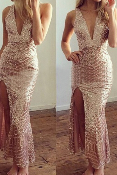 Gold Sequined Low-Cut V-Neck Halter Dress VG41511MN