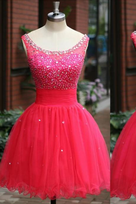 Short Homecoming Dresses Ball Gown scoop Cap Sleeve Backless Sequined Beads Pleat Party Prom Gowns