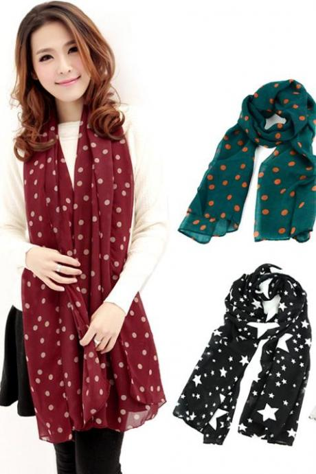 Dots Spot Chiffon Soft Neck Wrap