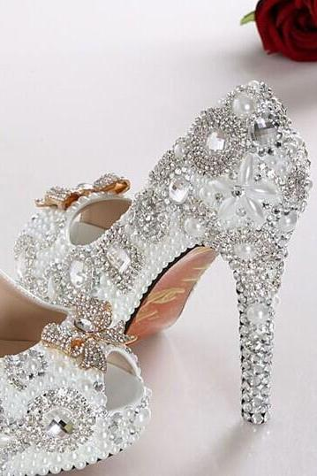 New Style High Quality Luxurious bow White Imitation Pearl Wedding Shoes Crystal High Heel Shoes for Women Honeymoon