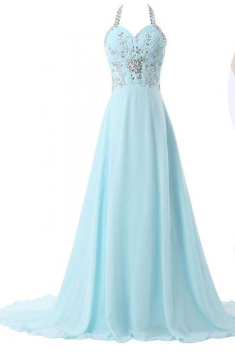 Pd07301 High Quality Prom Dress,A-Line Prom Dress,Chiffon Prom Dress,Halter Prom Dress, Beading Prom Dress