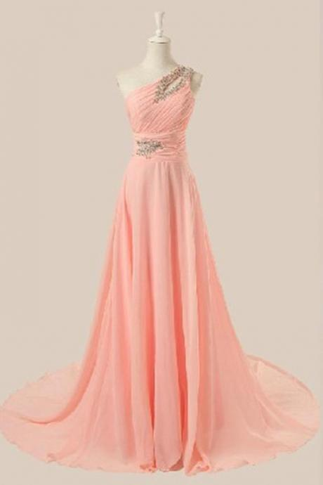 Elegant shoulder beaded pink prom dress 2016 elegant chiffon prom dresses 2016 bridesmaid dresses, dresses 2016
