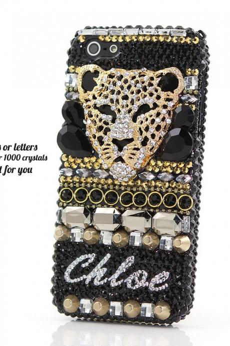 Bling Crystals Phone Case for iPhone 6 / 6s, iPhone 6 / 6s PLUS, iPhone 4, 5, 5S, 5C, Samsung Note 2, Note 3, Note 4, Galaxy S3, S4, S5, S6, S6 Edge, HTC ONE M9 (3D BLACK CHEETAH PERSONALIZED) By LuxAddiction
