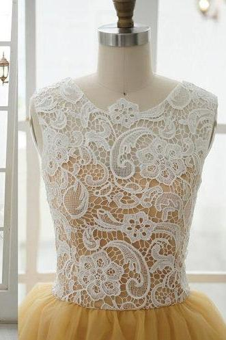Sleeveless Top Ivory Lace A Line Gold Tulle Knee Length Short Prom Dress, Zipper Back Bridesmaid Dress, Formal Party Dress