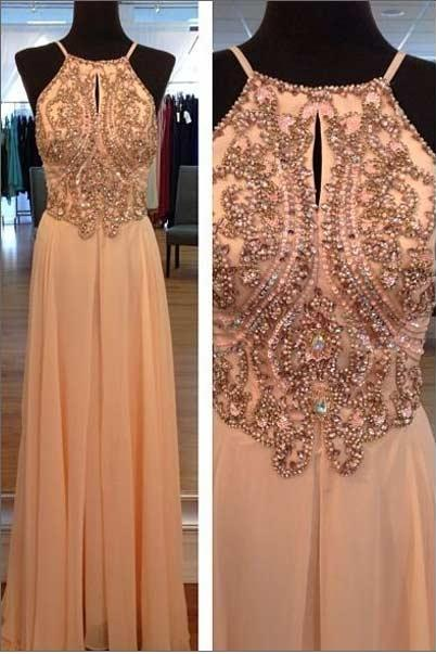 Light Peach Long Prom Dresse,s Straps Prom Gowns ,Beaded Evening Dresses, Backless Evening Gowns ,Cocktail Dresses Custom