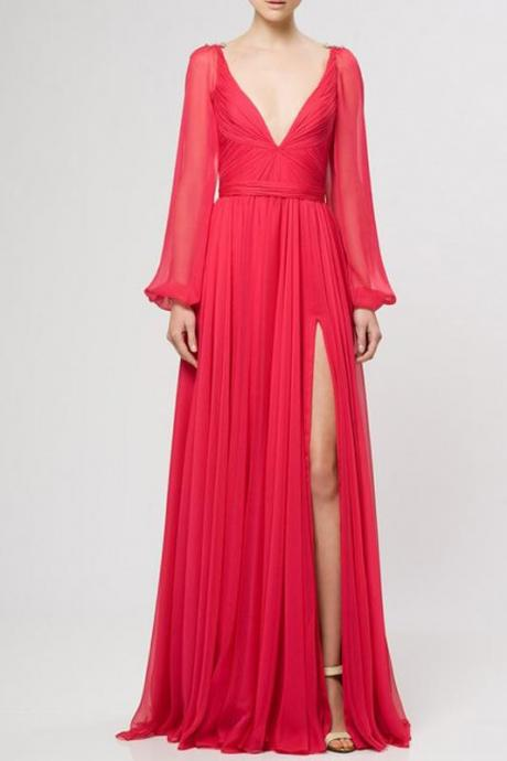 Sexy V-Neck Prom Dress, Elegant Long Sleeve Prom Dress ,A-Line Chiffon Evening Dress