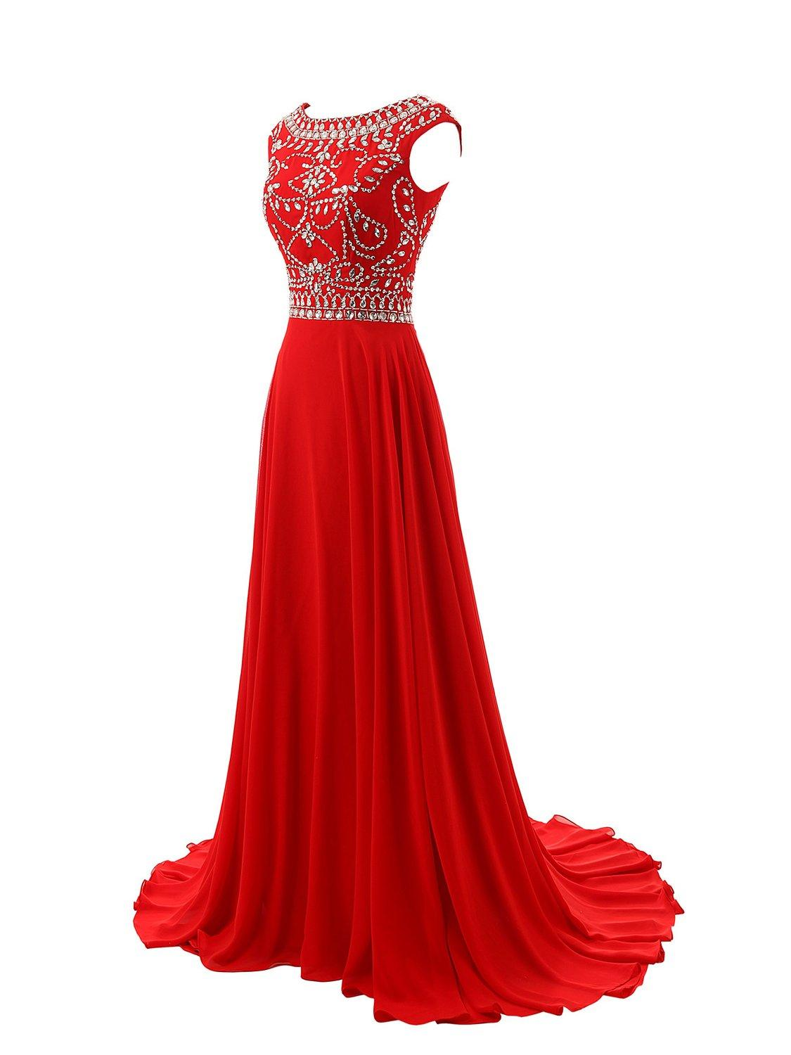 Red Prom Dresses,Elegant Evening Dresses,Long Formal Gowns,Beading Party Dresses,Chiffon Pageant Formal Dress,Cap Sleeves Evening Gown