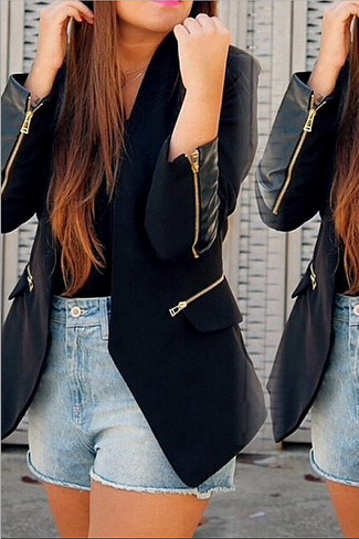 2015 Hot sale Europe and the United States women's fashion tuxedo jacket jacket zipper