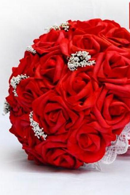 2016 Cute & Lovely Red Wedding/ Bridesmaid/ Flower Girl Bouquets Handmade Artificial Rose Flowers Lace Accents Bouquets