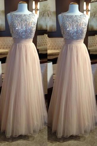 Champagne Beading Prom Dress, Tulle Formal Dress, Elegant Evening Dress