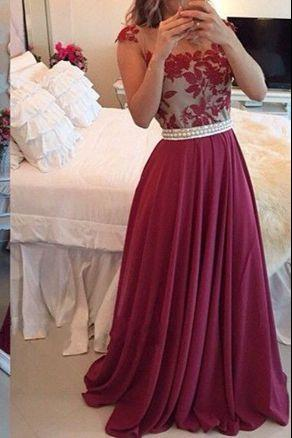 Burgundy Lace Appliques Cap Sleeves Floor Length Chiffon A-Line Prom Dress Featuring Pearl Embellished Belt, Formal Dress