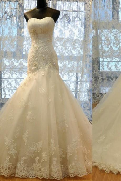 Real Photo Mermaid Lace Tulle Ivory Wedding Dress Cheap Handmade Flowers Sweetheart Neckline Elegant Bridal Dresses 2016