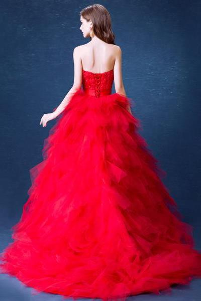 High Low Dress Crystals Red Wedding Dresses Pipings Handmade-flowers Strapless Neckline Lace up Count Train Prom Sparked Fitted