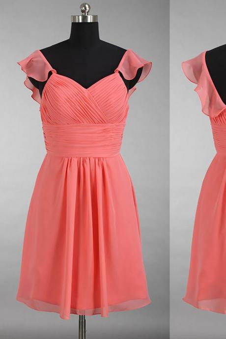 Modest Watermelon Bridesmaid Dress with Ruching Detail, V-neck Chiffon Bridesmaid Dress, Short Gowns for Bridesmaids, #01012897