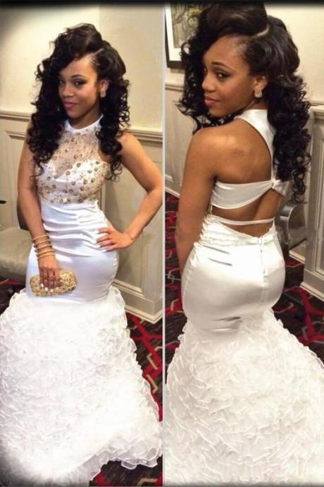 White Prom Dress,White Prom Dress,Prom Gown,Backless Prom Dresses,Sexy Evening Gowns,New Fashion Evening Gown,Party Dress For Teens