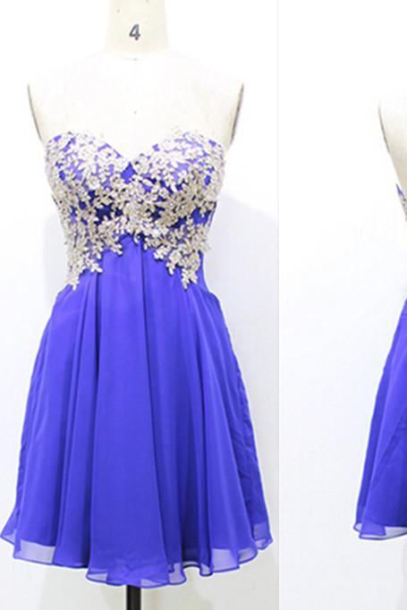 Royal Blue Appliques Chiffon Homecoming Dresses,A-Line Graduation Dresses,Homecoming Dress,Short Homecoming Dress