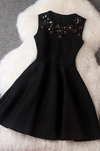 Sexy Black Homecoming Dress,Black Short Prom Dress,Custom Made Sequins Black Girls Dresses