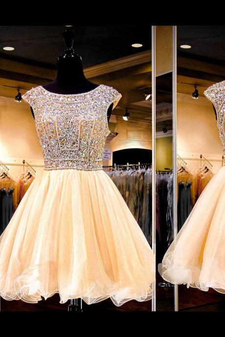 Sexy Open Back Princess Homecoming Dresses, Cap Sleeve Boat Neck Short Prom Dresses, Sparkly Crystal Sequined Tulle Prom Dresses, #020102422