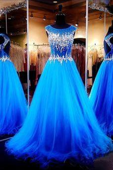 Charming Quinceanera Dress,Royal Blue Prom Dress,Beaded Prom Dress,Fashion Prom Dress,Sexy Party Dress, New Style Evening Dress