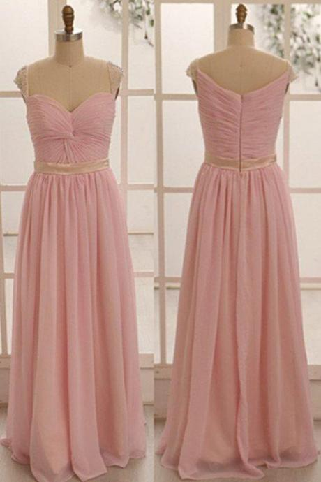 Custom Made Pink Cap Sleeve Knotted Ruched Sweetheart Neckline Chiffon Floor-Length Empire Waistline Dress, Prom Dress, Formal Cocktail Dress, Bridesmaid Dresses , Weddings