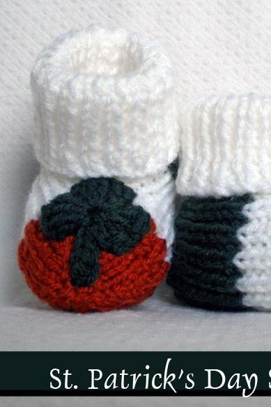 Irish Shamrock Baby Booties Knitting Pattern